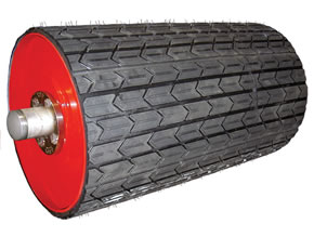 Arrowhead Drive & Non-Drive Rubber Conveyor Pulley Lagging.  MSHA approved with superior wear.