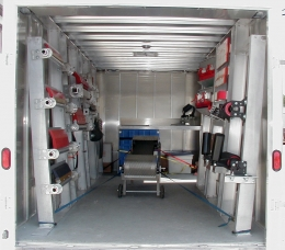 Interior of mobile show room.