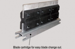 Blade Cartridge allows for easy change out of scraper blades from either side of the conveyor.