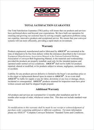 ASGCO Total Satisfaction Guarantee