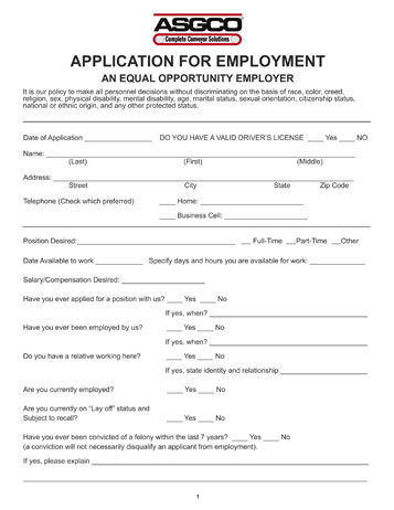 ASGCO Employment Application