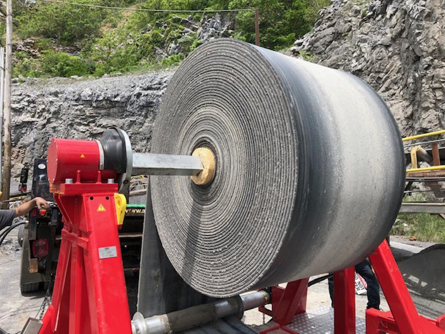 asgco belt winder service team installing new belt